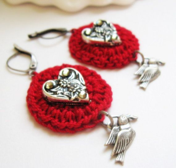 VALENTINES SALE Valentine's Dangle Earrings  Red by BeJeweledNH, $20.00
