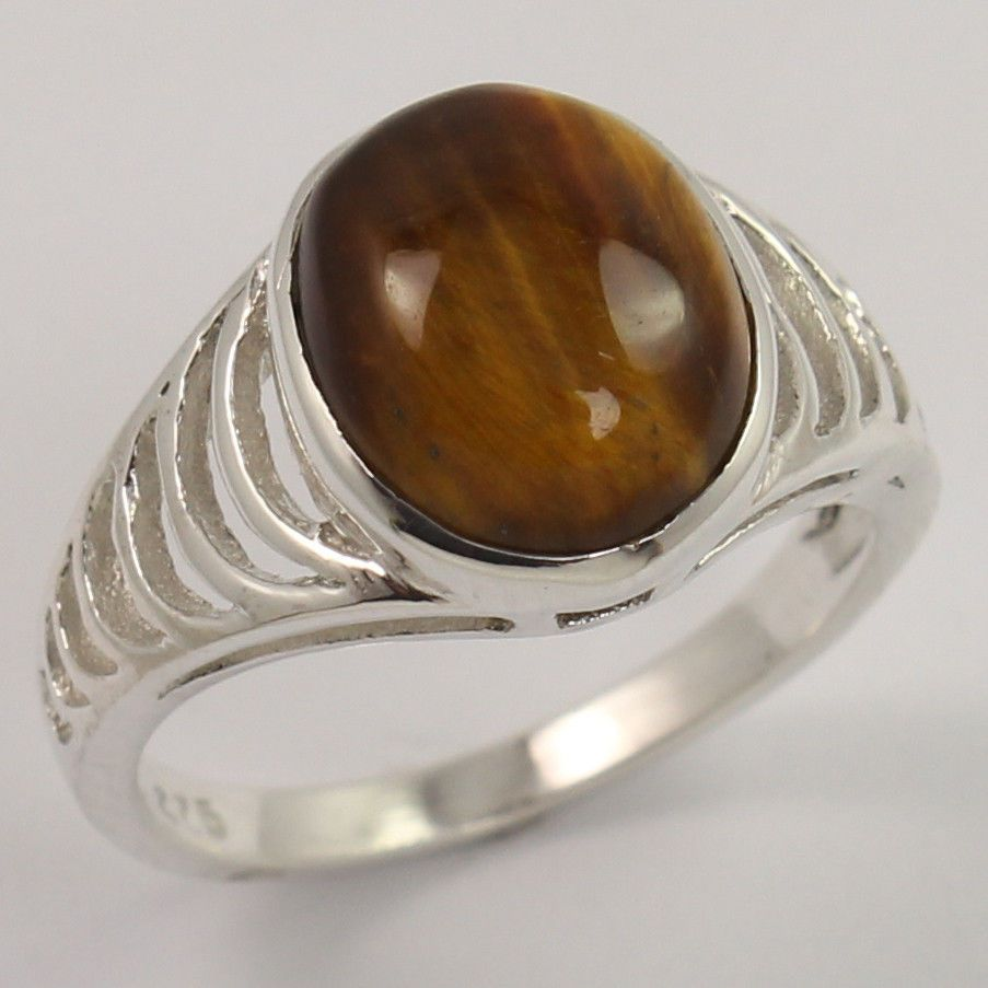 925 Sterling Silver New Fashion Ring Size US 5.75 Natural TIGER'S EYE Gemstone #Unbranded #Fashion