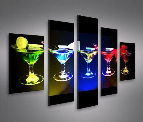 Funky cocktails mf 5 quadri moderni su tela pronti da for Stampe da appendere
