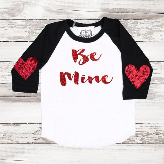 Valentines Day Sparkle Tee Baseball T Shirt Glitter Be Mine Sequin