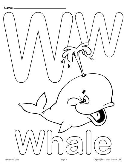 Letter W Alphabet Coloring Pages - 9 FREE Printable Versions ...