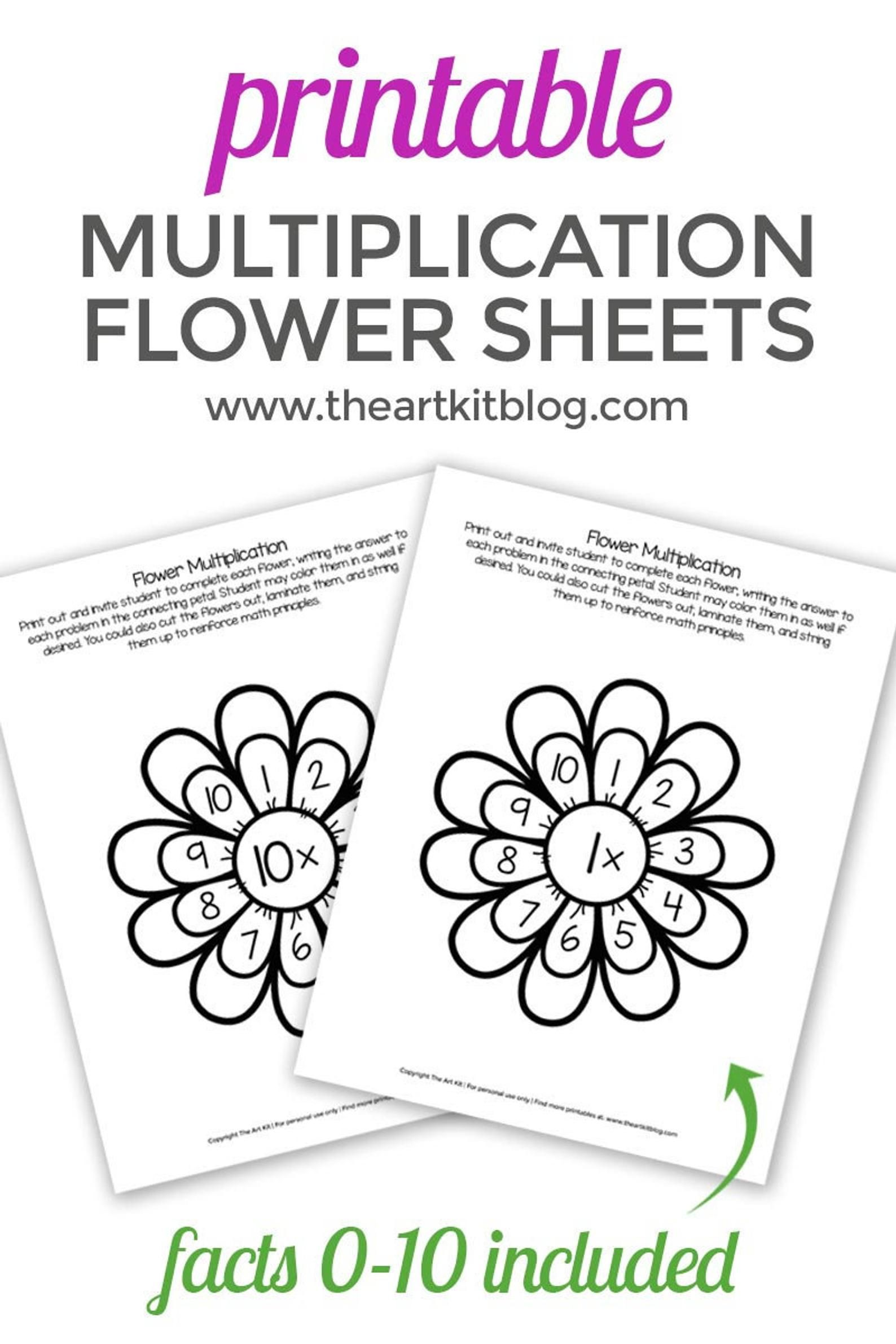 Multiplication Flowers Activity Sheets 0 To 10