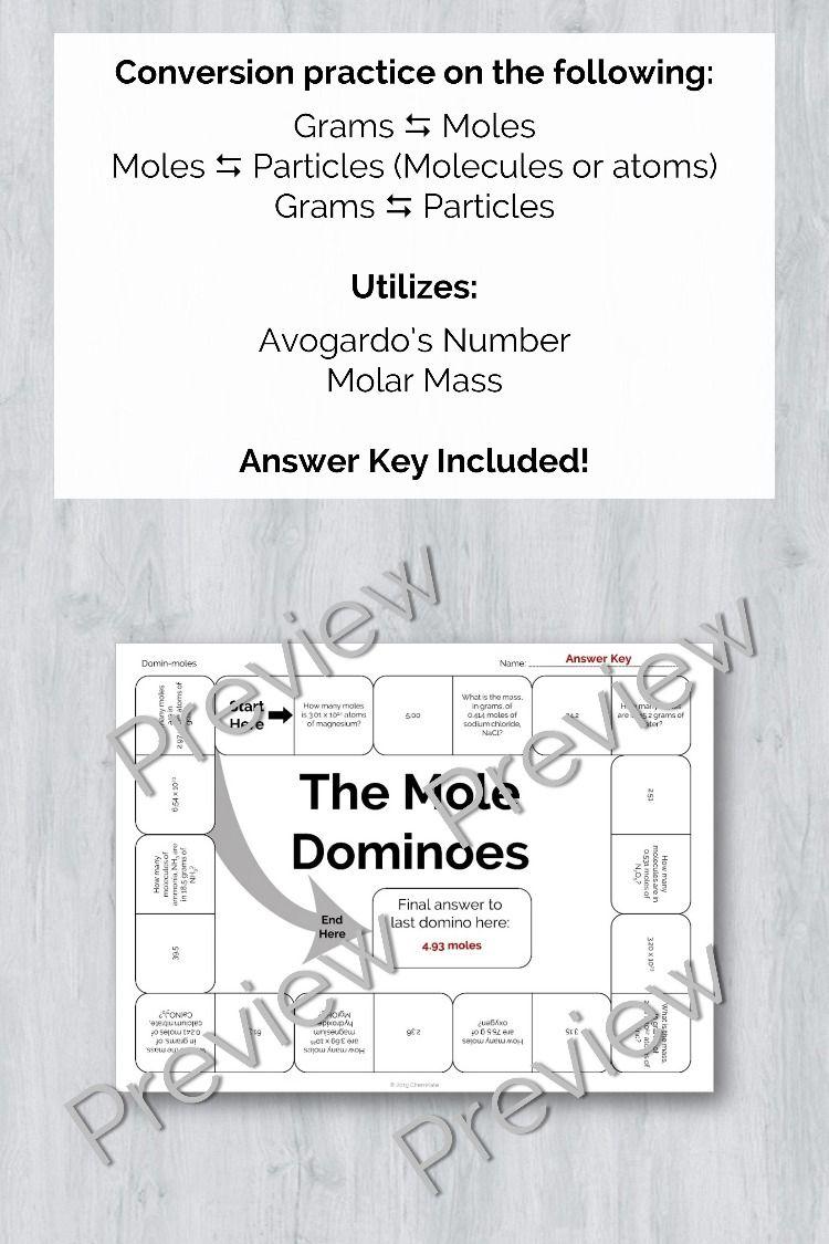 Mole Dominos Engaging Conversion Practice Teaching Chemistry Molar Mass Teaching