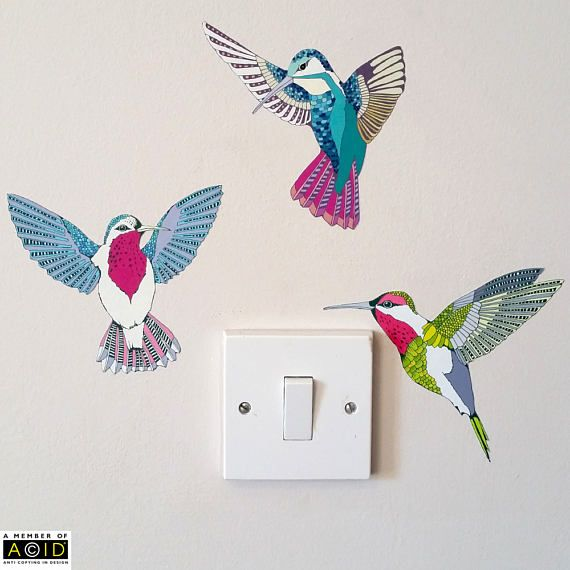 nursery wall stickers Hummingbird wall decal set