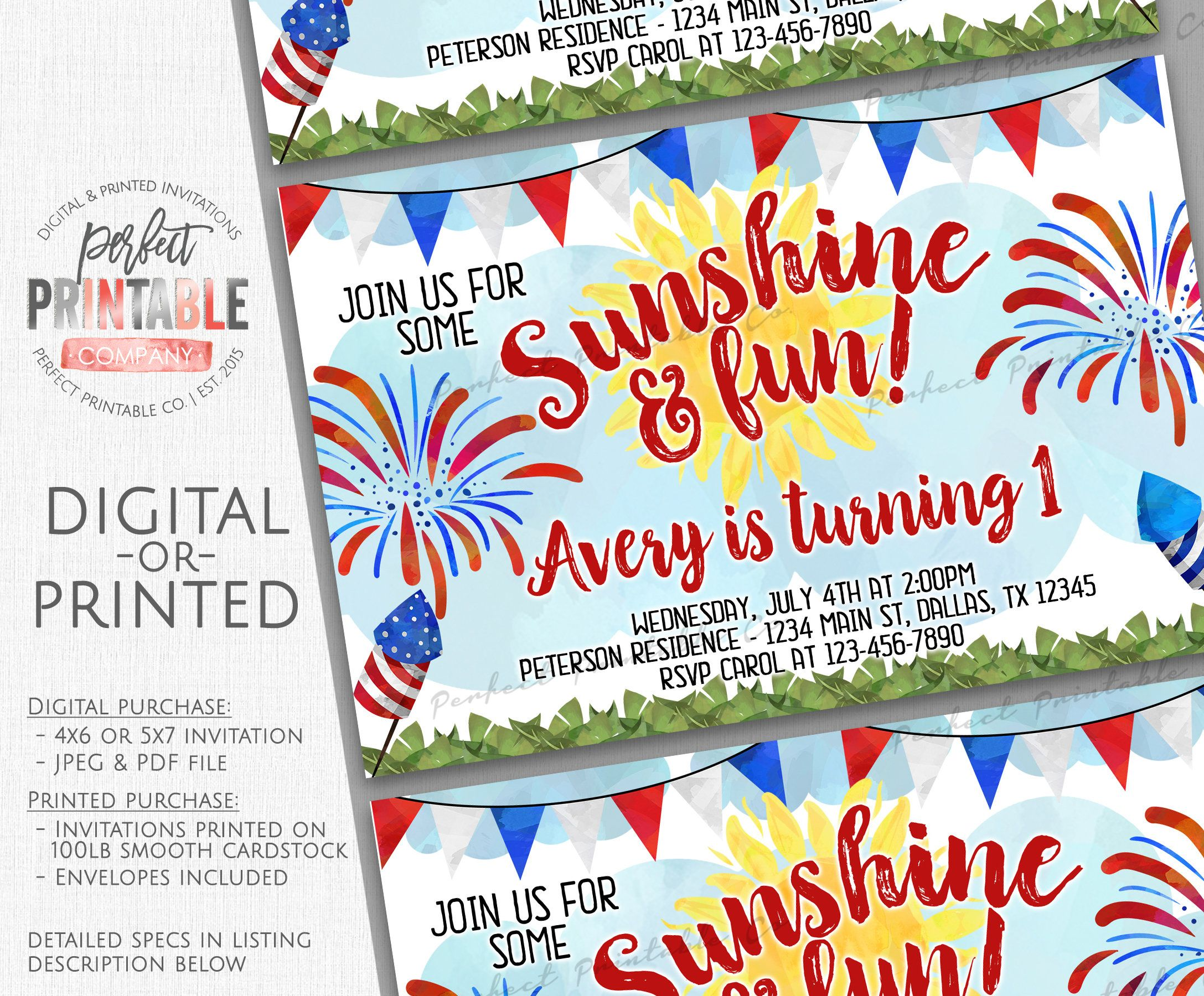 4th Of July Birthday Invitation Party Invite Sunshine 797 By