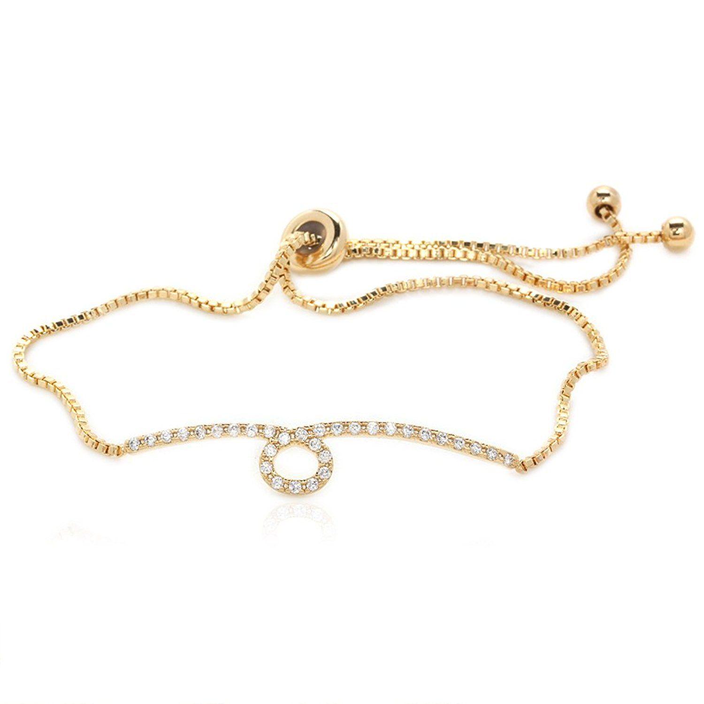 Amazon luxury bracelet round cubic zirconia gold plated box