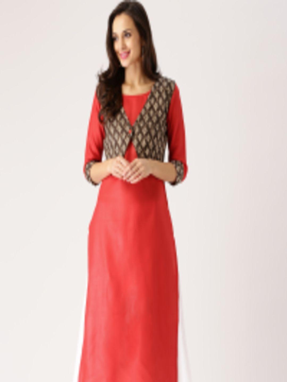 eacf1a9cc89 Buy Libas Women Red Solid Straight Kurta With Ethnic Waistcoat - Kurtas for  Women 1991319