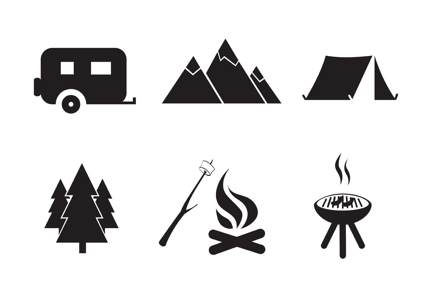 Six Different Camping Icon Vectors That Would Be Perfect For Outdoor And Recreational Projects Camping Icons Free Art Hand Carved Stamps