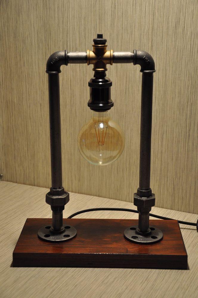 Retro Tisch Lampe Edison Industrie Design Rohr Led Steampunk Vintage