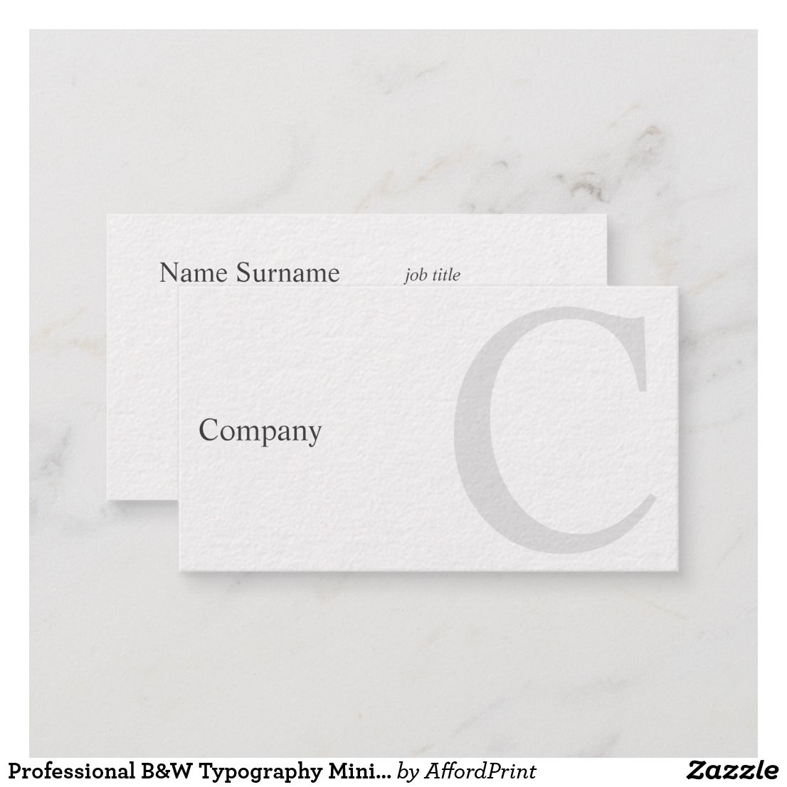 Professional B W Typography Minimal Business Card Zazzle Com