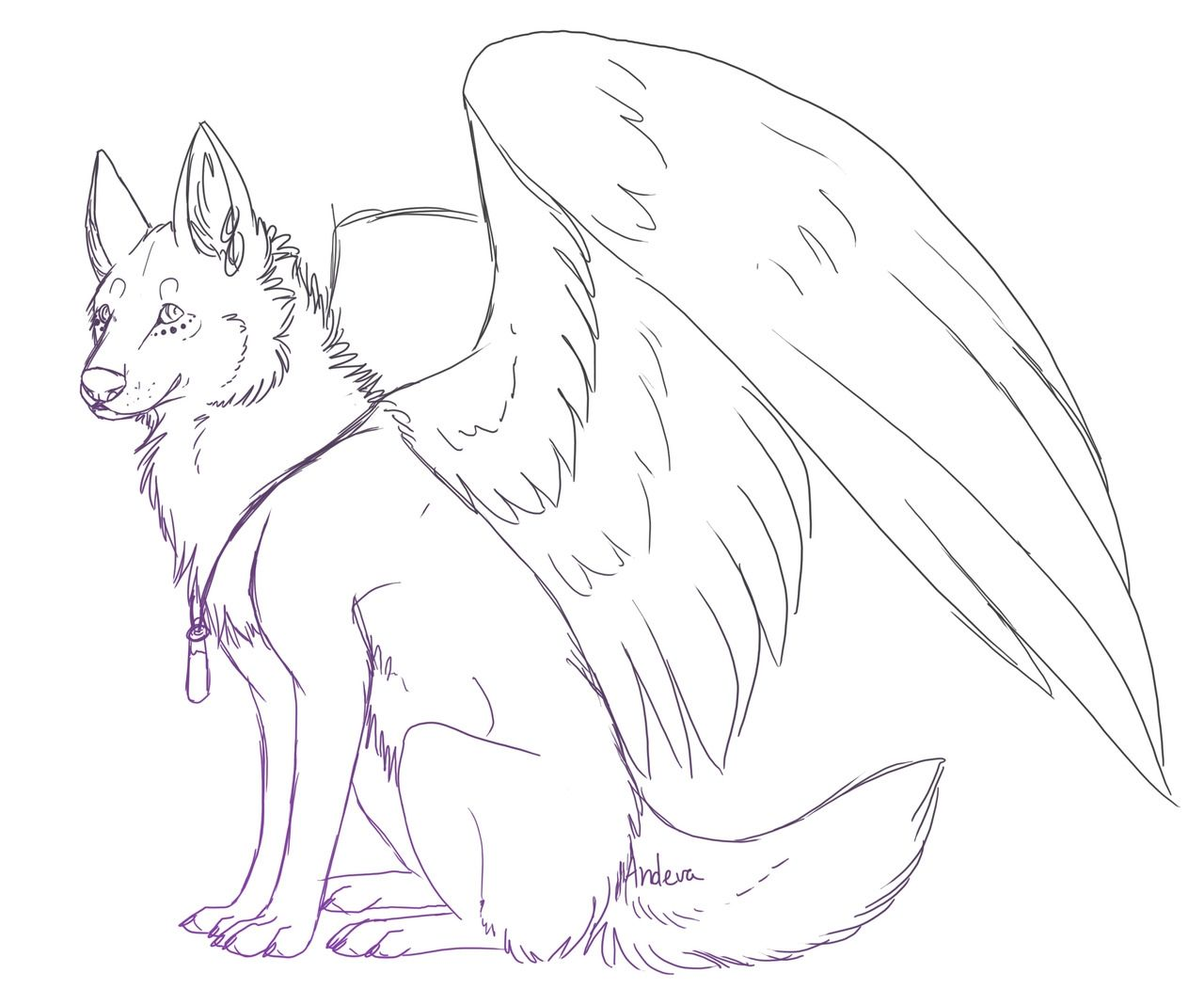 Flying Winged Wolf Coloring Pages Printable in 2020 Wolf