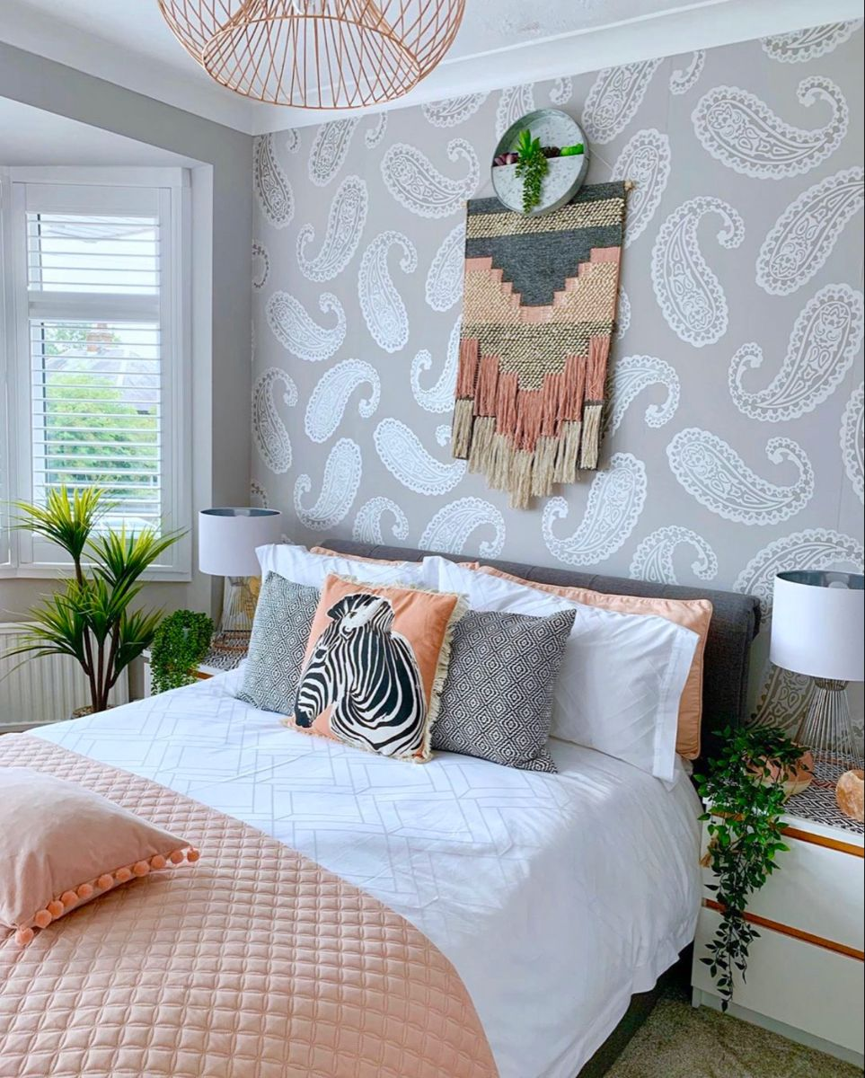 I've used peach accessories in my grey bedroom to add a ...