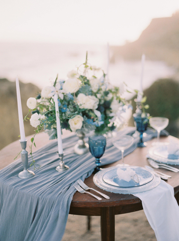Gauze Runner Gauze Table Runner Cheesecloth Runner Image 1 Blue Table Runner Wedding Tablecloths Table Runners Wedding