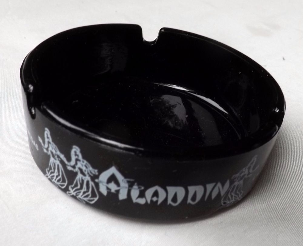 Aladdin Las Vegas Strip Vintage Round Black Amethyst Glass Ashtray