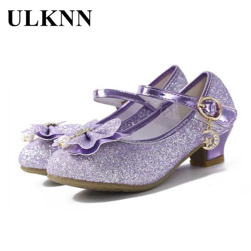 3a79f3db2c094 ULKNN Glitter Children Girls High heel Shoes For Kids Princess Sandals  Bowtie Knot infant Baby Girls Shoes For Party and Wedding Review