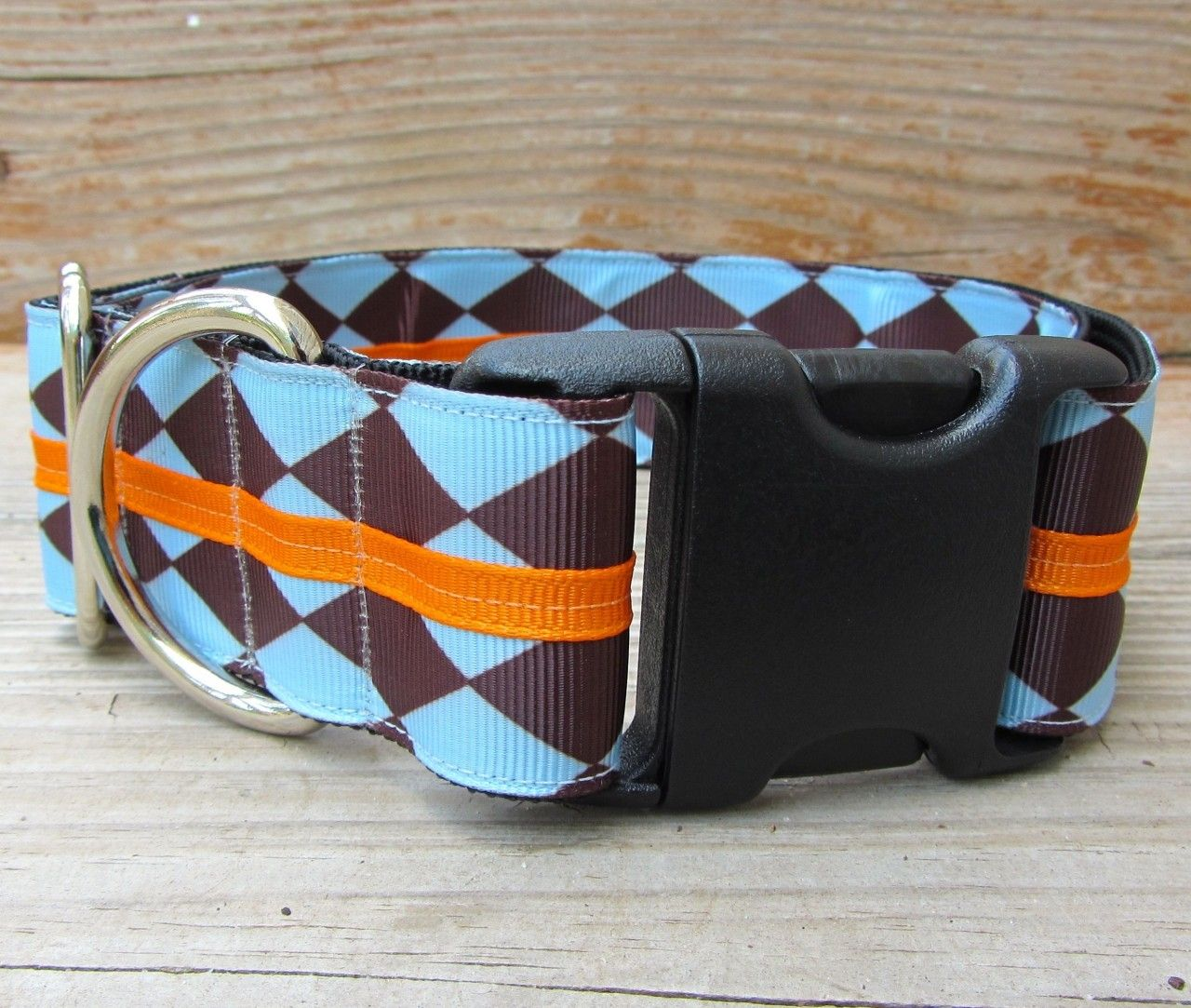 Centerline - A wide sport release buckle dog collar with chocolate Brown and Blue Diamond print, topped with Bright Orange. | If It Barks
