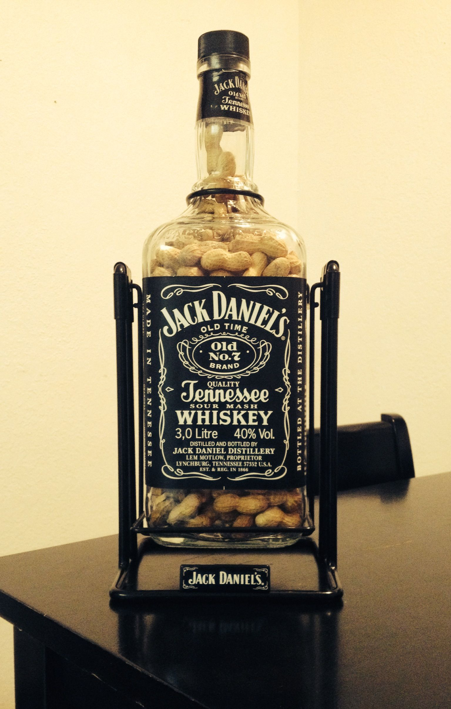 3 liter jack daniels bottle filled with peanuts for my brother in laws man cave diy my. Black Bedroom Furniture Sets. Home Design Ideas
