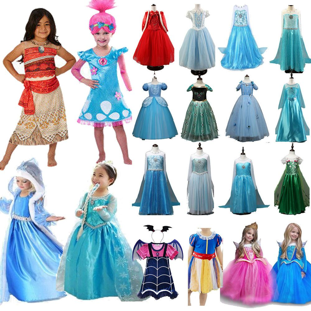 Sponsored Ebay Kids Girls Princess Dress Up Fancy Costume Party Cosplay Clothes Halloween Lot Girl Princess Dress Kids Party Dresses Kids Tutu Dress