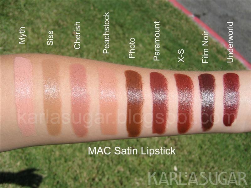 MAC, Satin, lipstick, swatches, Myth, Siss, Cherish, Peachstock ...