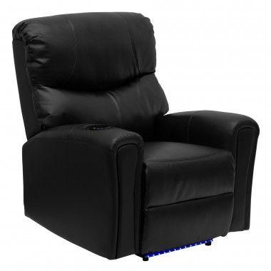 Flash Furniture Massaging Leather Recliner With Lighted Base Color: Black    BT7865AUTOBK