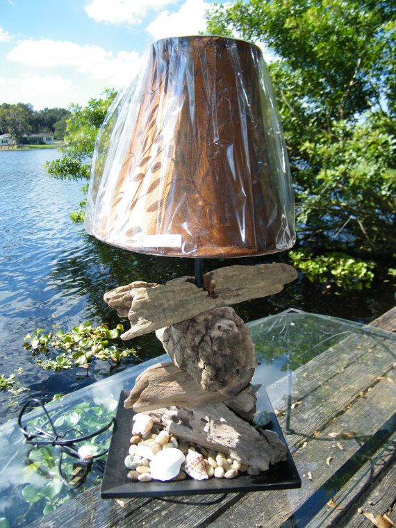 Hand Made Driftwood Lamp With Real Sea Shells by Rivertreasuresc, $59.00