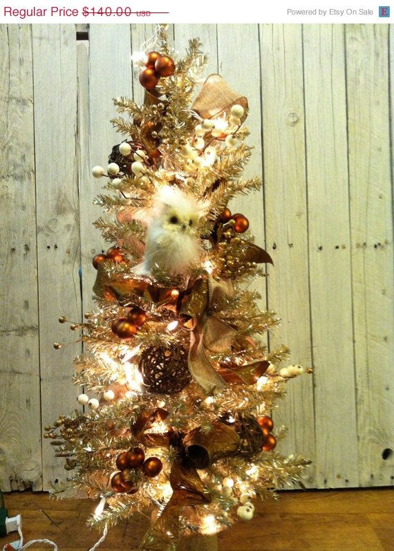 On Sale Owl Decorated Tinsel Christmas Tree By Marigoldsdesigns 119 00 Tinsel Christmas Tree Christmas Christmas Time