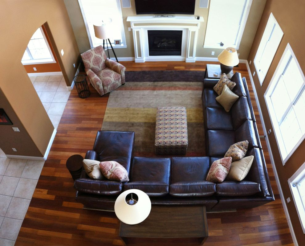 Living Room Layout With Modern Sectional And Accent Chairs
