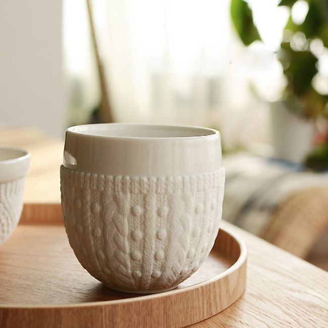 Free Shipping Zakka Imitation Sweater Embossed Ceramic Double Coffee Cup Breakfast Cup Mugs Wholesale 5 Pieces Lot Breakfast Cups Glass Coffee Cups Coffee Cups