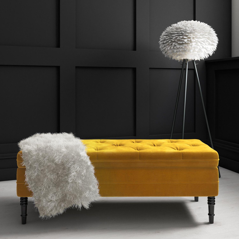 Safina Mustard Yellow Velvet Storage Blanket Box Saf052 Storage
