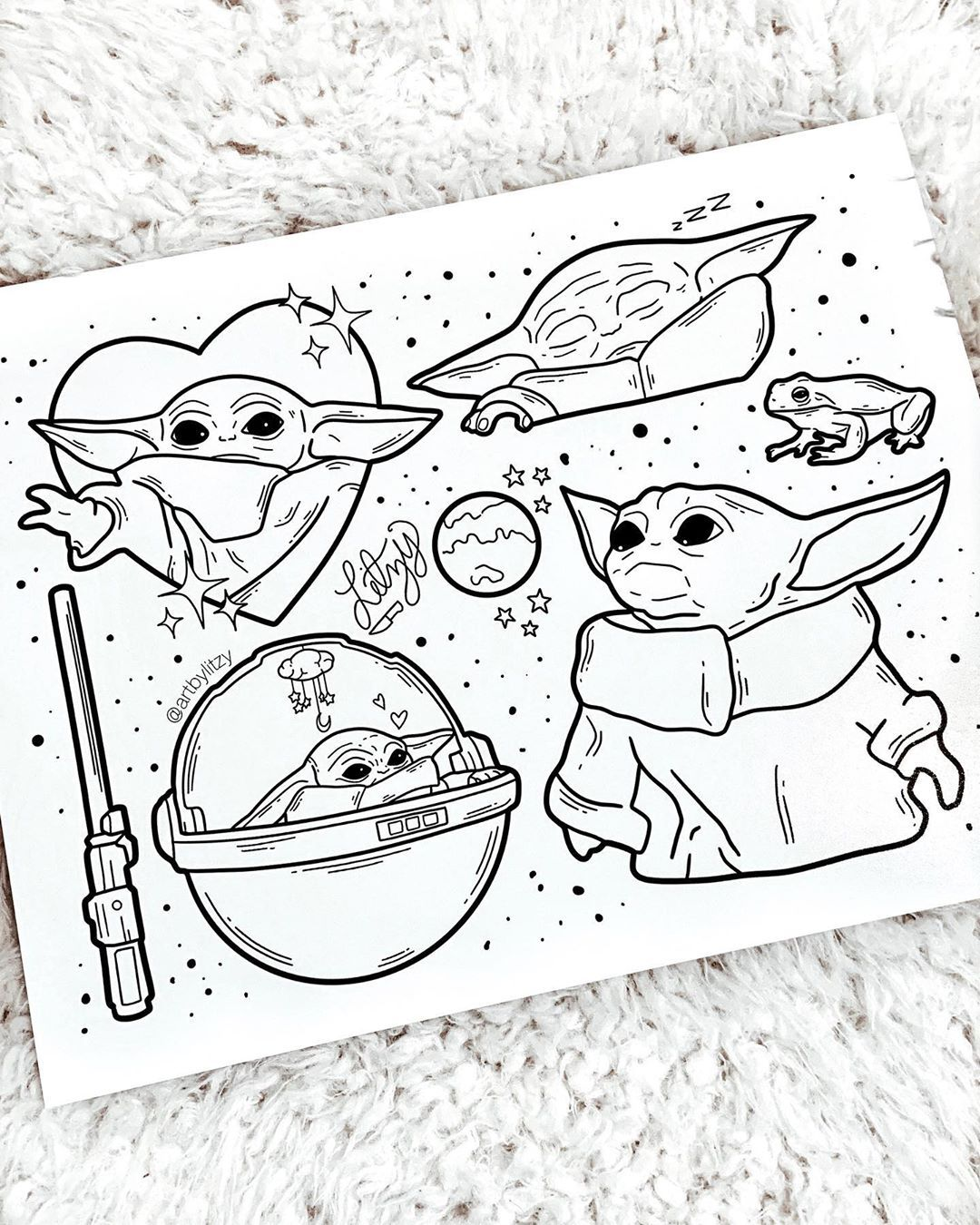Baby Yoda Flash Sheet He Eat Frog By Artbylitzy With Images