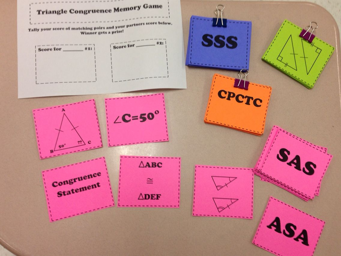This Is A Triangle Congruence Memory Game I Made For My