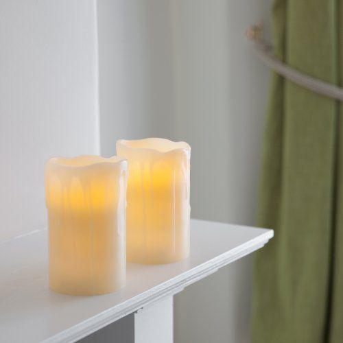 2er Set Led Kerzen Echtwachs Mit Timer Batteriebet Amazon Led