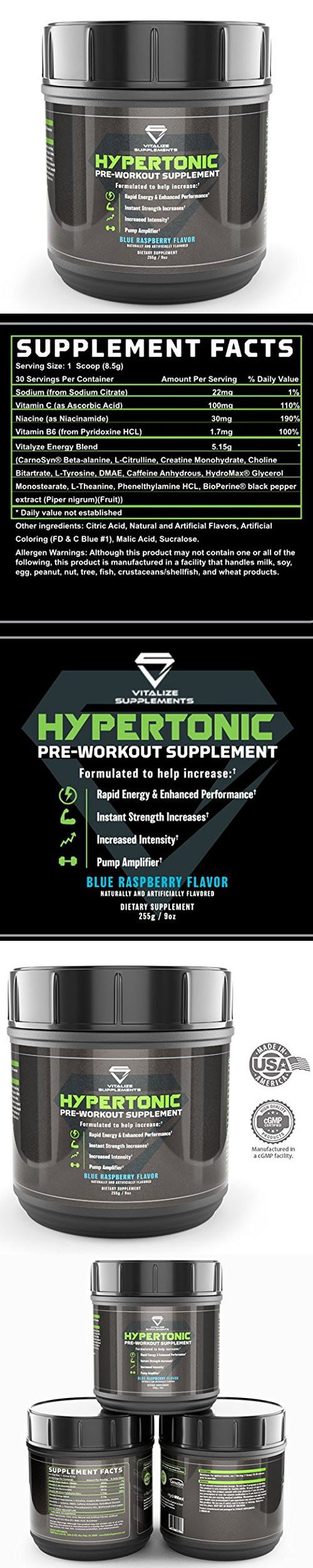 Pre Workout Vitalize Hypertonic With Dmae Increases Energy Performance Strength Endurance And Intensity For Men A How To Increase Energy Preworkout Energy