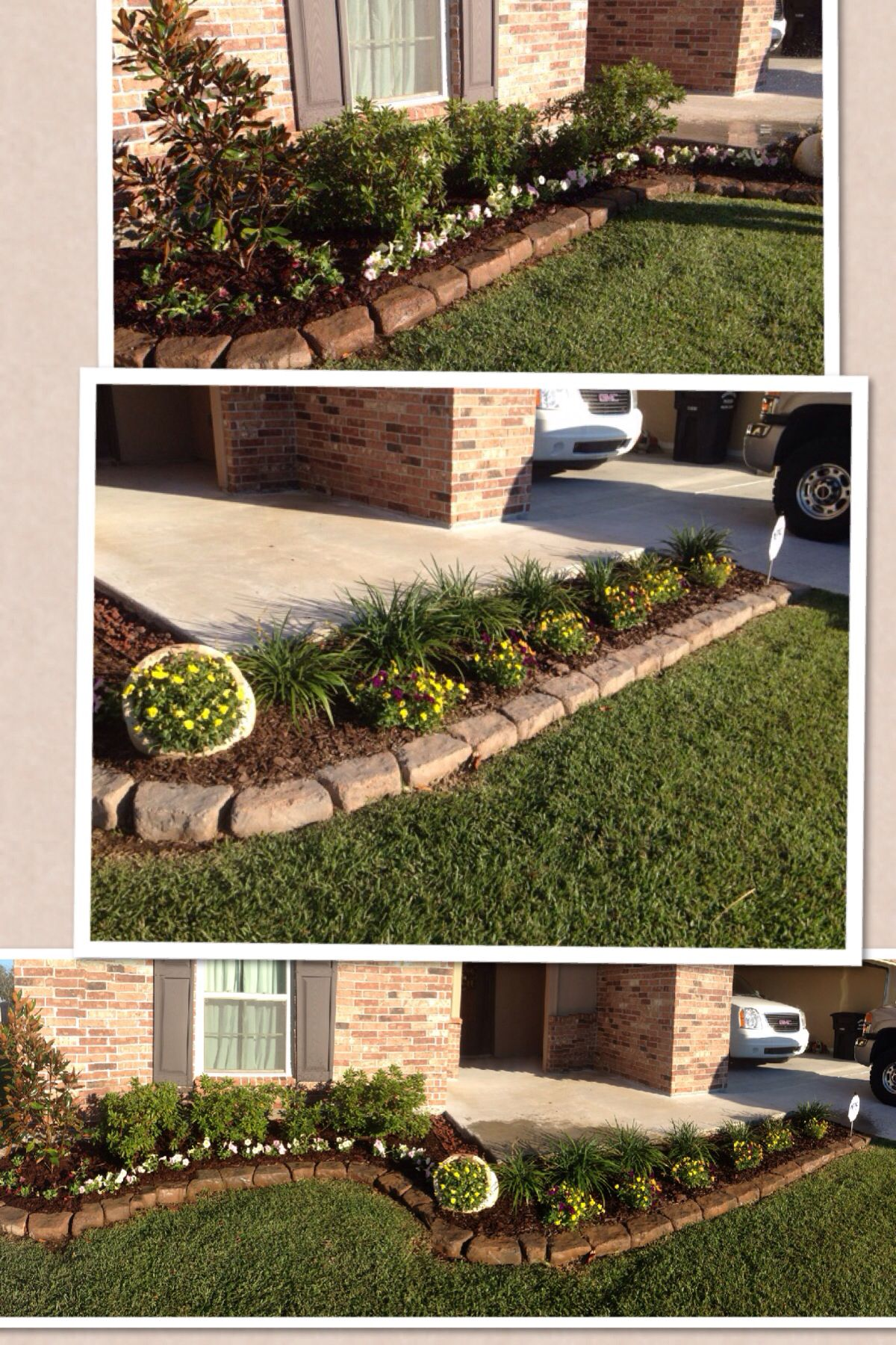 Simple Front Flower Bed Design With