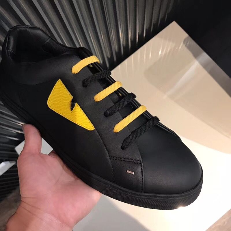 cf2021c57d FENDI Black and Yellow Leather Lace-up Sneakers 7E1071TTYF07OM in ...