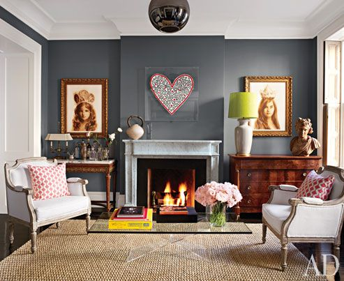 hearts, old and new, grey paint, marble fireplace