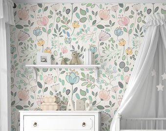 Murale de papier peint floral dAmara Floral à laquarelle Traditionnel ou amovible – Sans vinyle – Non toxique