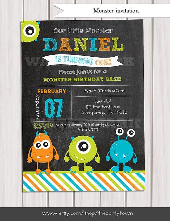 Little monster birthday invitation Monster invite card Monster