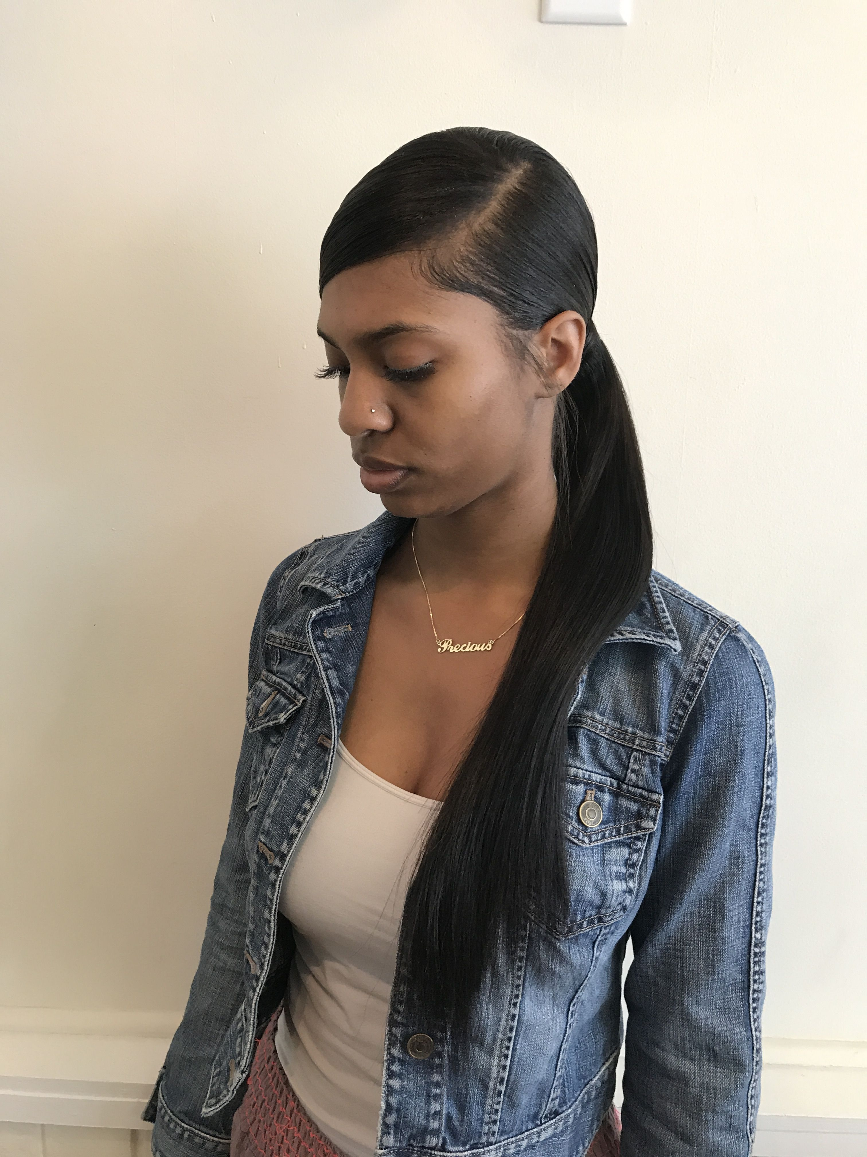 low side part weave ponytail | hairr in 2019 | weave