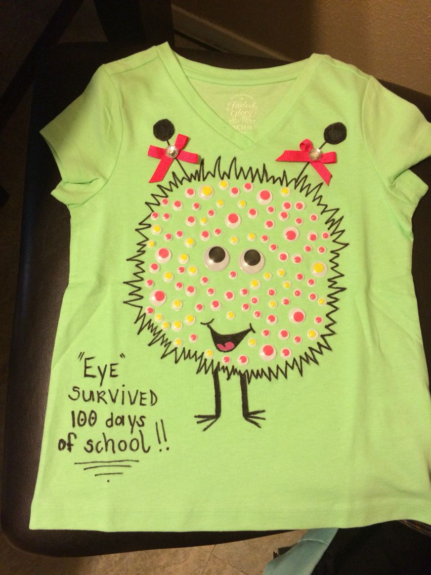 Diy Monster Shirt I Made For My Daughter For 100 Days Of School
