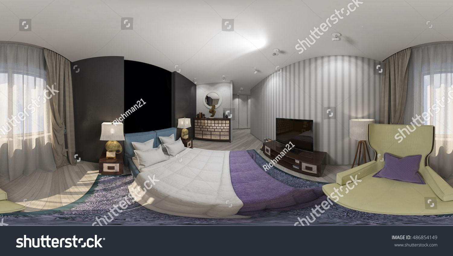3d Illustration Of Interior Design Spherical 360 Degrees Seamless Panorama Of Bedroom Interior Design Degree Interior Design Interior Design Bedroom