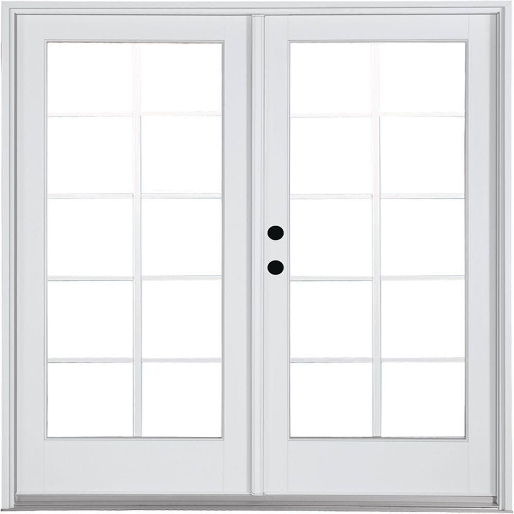 Mp Doors 60 In X 80 In Fiberglass Smooth White Right Hand Inswing Hinged Patio Door With 10 Lite Gbg Hn5068r002w2 French Doors Patio Patio Doors Exterior Doors