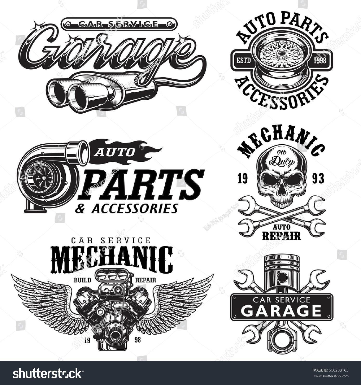 Set of vintage monochrome auto repair service templates of