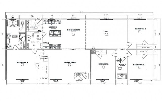 The excalibur floor plan large custom modular ranch home for Extreme house plans