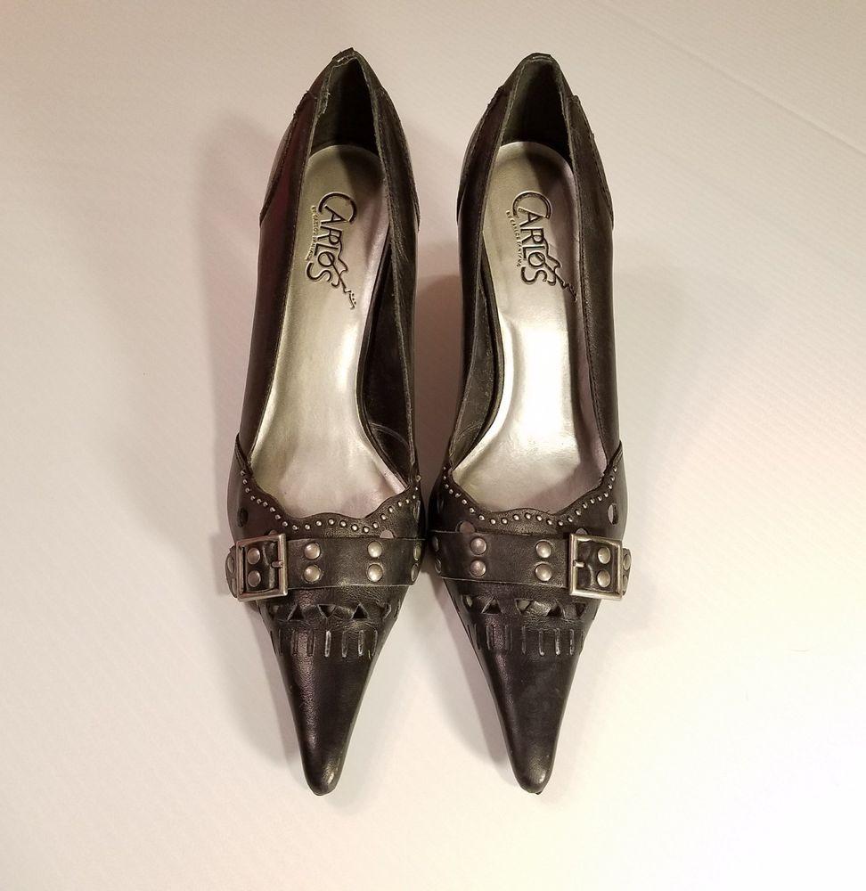 Carlos by Carlos Santana Size 7.5M Womens Black Leather Wistful Heels Pointy Toe