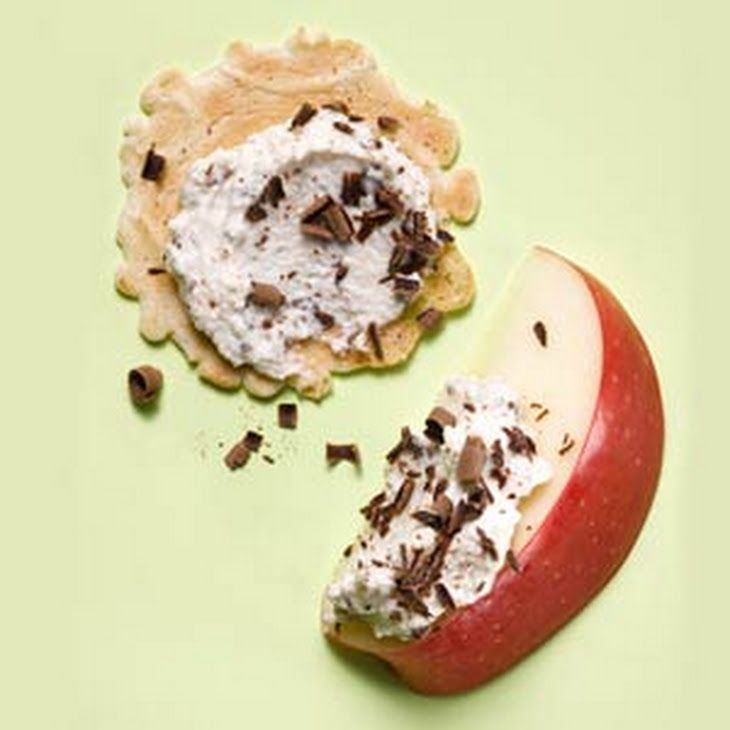 Cannoli Dip Recipe Desserts with nonfat ricotta cheese, honey, vanilla, dark chocolate, crisps, apples
