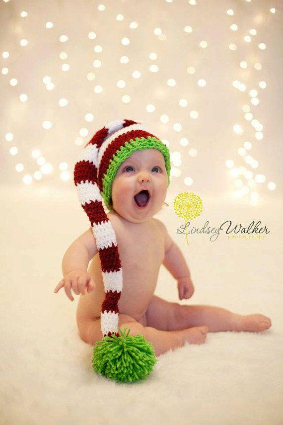 Ganchillo santa calcet n de navidad sombrero santa elf por - Calcetin de navidad ...