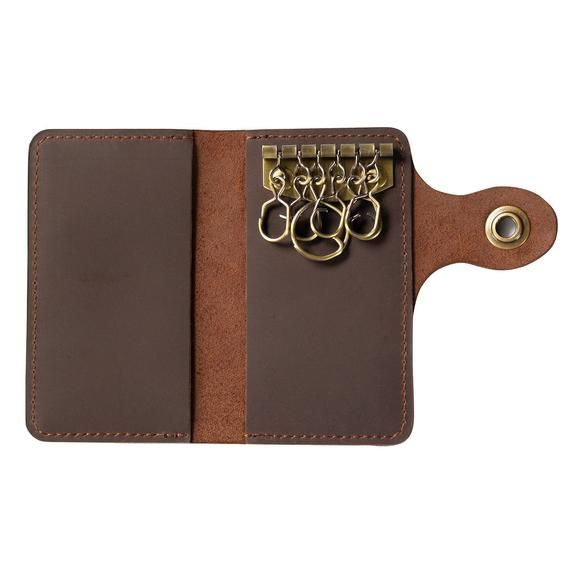 Leather Key Holder Organizer Key Case Cards Wallet Pouch Men Women Leather Cards