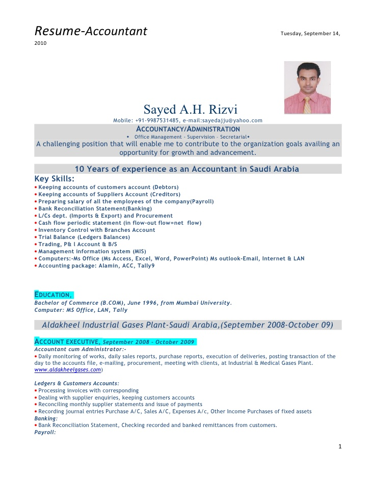 Accountant Resume Format 2019 2020 in 2020 Accountant