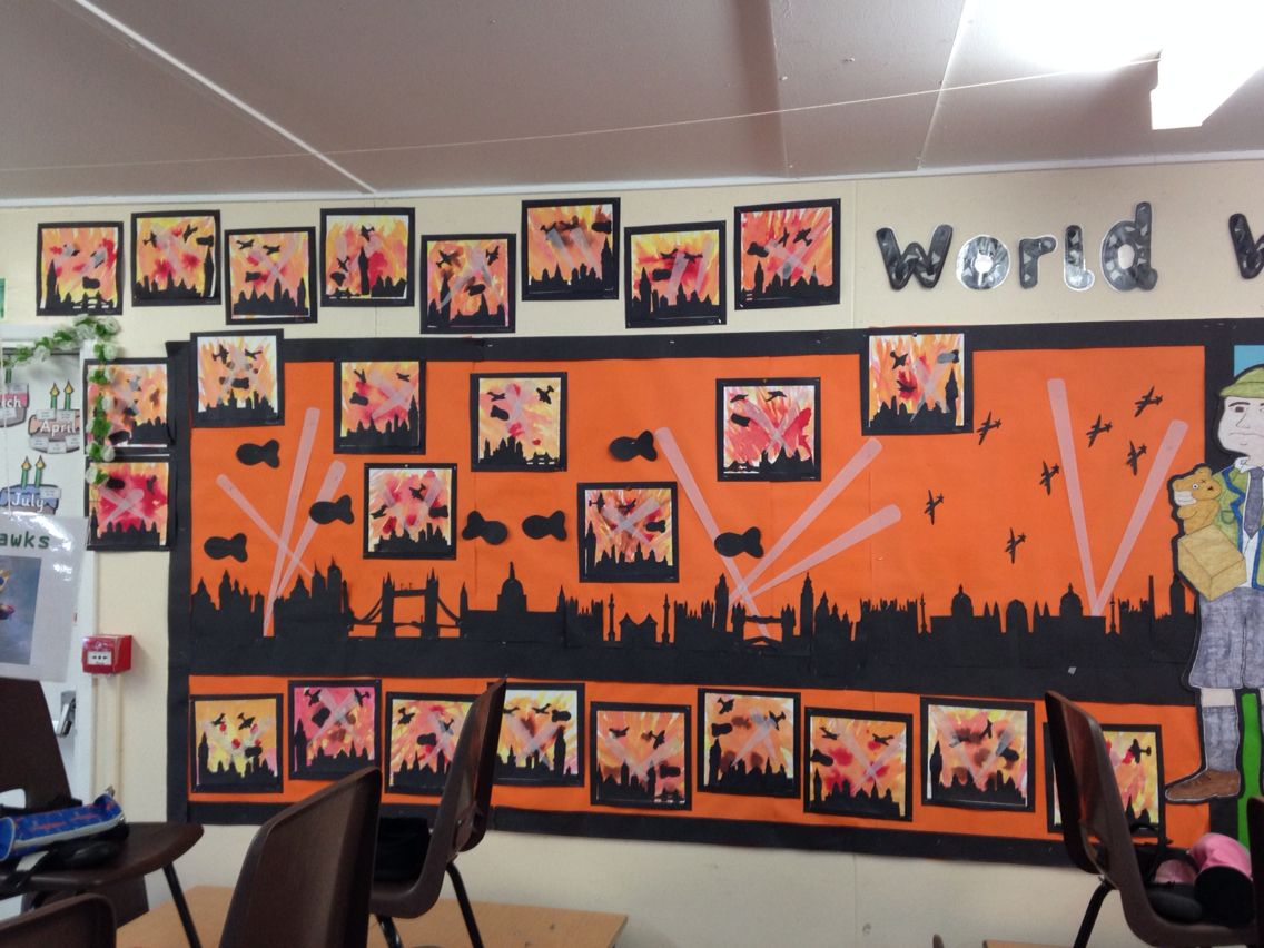 Classroom Ideas Ks2 ~ Blitz classroom display world war art pinterest